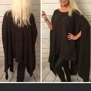 Poncho Style Charcoal Sweater Top Large